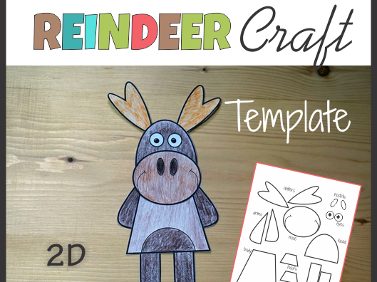 Reindeer Craft - Template Cut and Paste