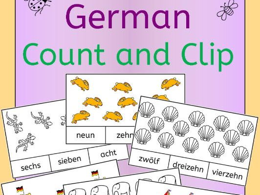German Numbers Zahlen Count and Clip - practice number words to 20