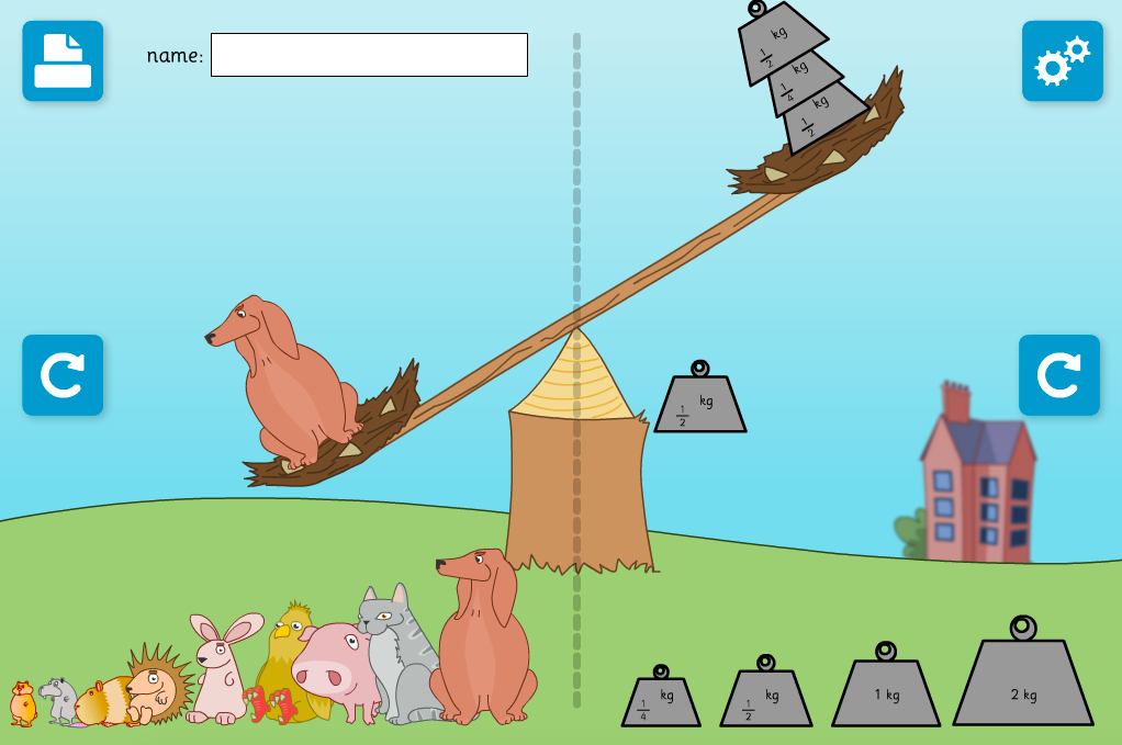 Balancing Animals with Weights Interactive Activity - KS1 Measurement
