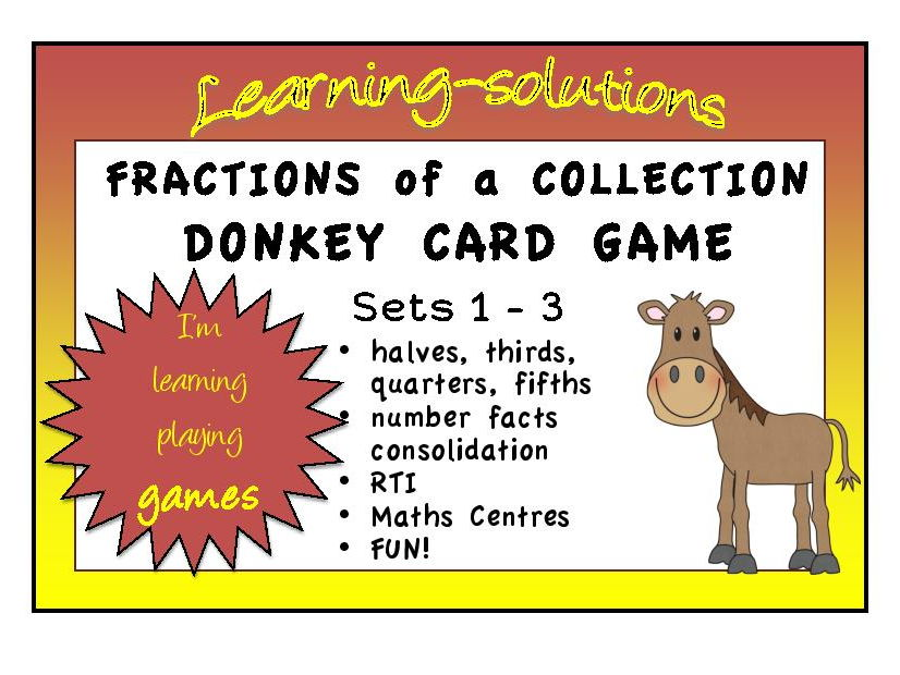 FRACTIONS OF A COLLECTION - DONKEY CARD GAME - 3 sets