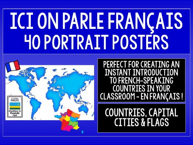FRENCH-SPEAKING COUNTRIES - 46 DISPLAY POSTERS / FLASHCARDS