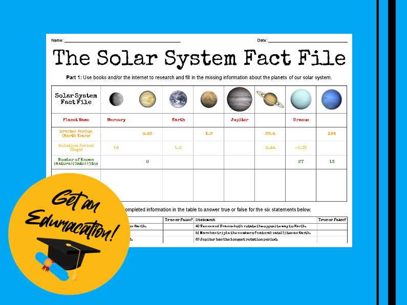 The Solar System Fact File Worksheet