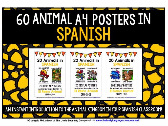 SPANISH FOR CHILDREN - ANIMALS - 60 POSTERS / FLASHCARDS PACK