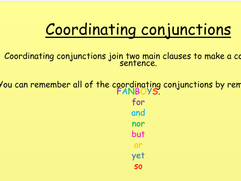 Coordinating conjunctions KS1