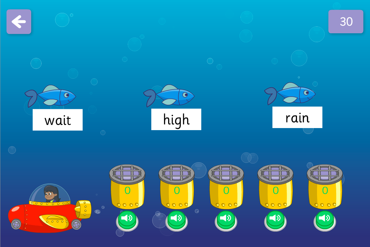 Catch the Fish Game - Vowel Graphemes - Phase 3
