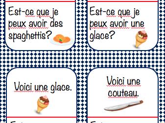 Au restaurant- race card game J'ai... Qui a...