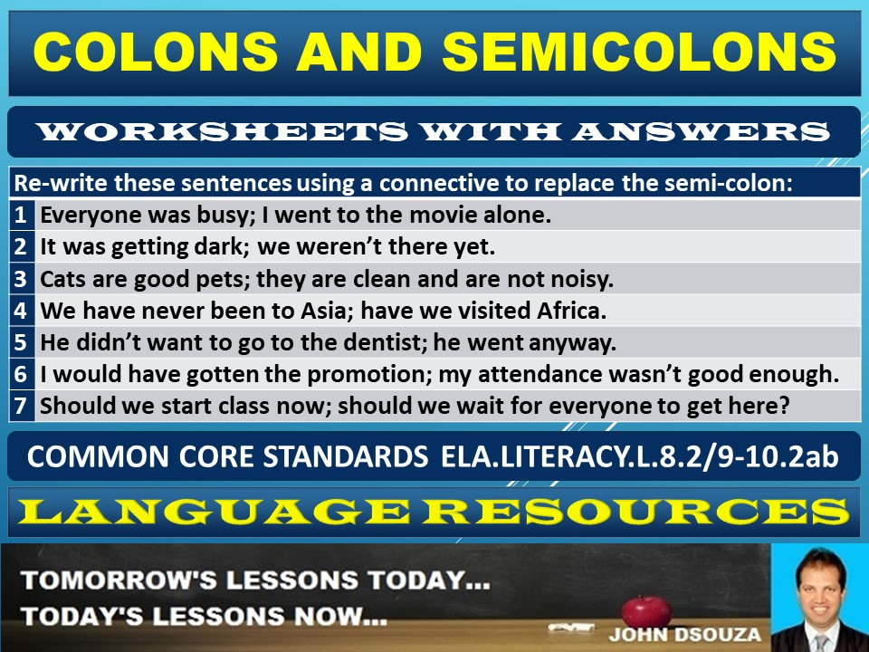 COLON AND SEMICOLON WORKSHEETS WITH ANSWERS