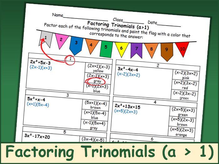 Factoring Trinomials (a > 1) Coloring Activity