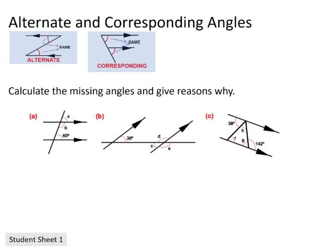 New Curriculum: Alternate and corresponding angles (Differentiated)