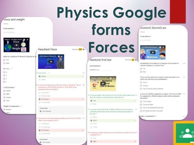 Forces Google forms. Self marking GCSE Physics
