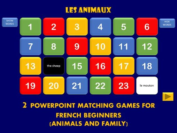 Memory Game for French Beginners - animals and family