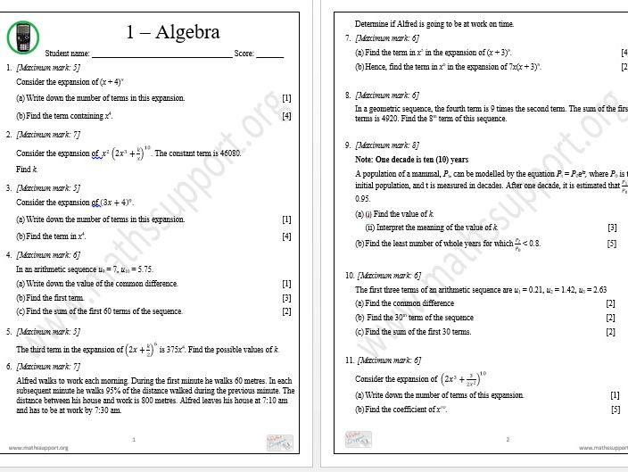 IB Standard Level revision, Topic 1 - Algebra, Calculator questions