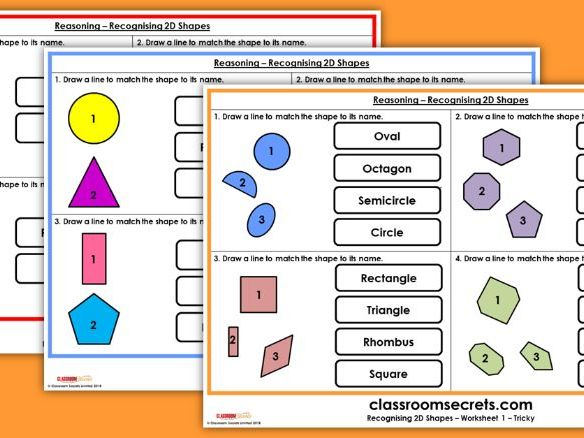 SATs KS1 Reasoning Recognising 2D Shapes Test Practice