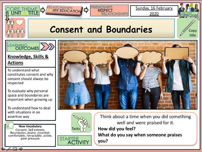Consent + Boundaries - RSE PSHE