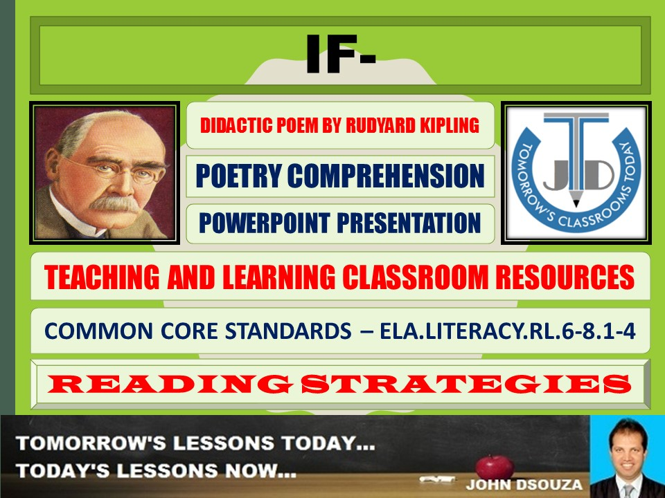 IF- BY RUDYARD KIPLING - DIDACTIC POEM - POWERPOINT PRESENTATION