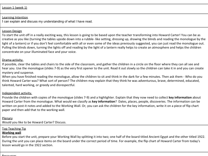 English Full Scheme of Work and resources  based on Ancient Egypt for UKS2