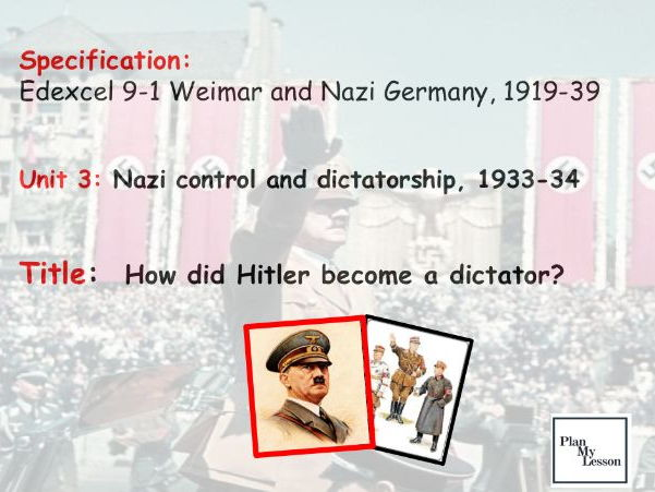 Edexcel 9-1: Weimar & Nazi Germany: L22 How did Hitler become a dictator?