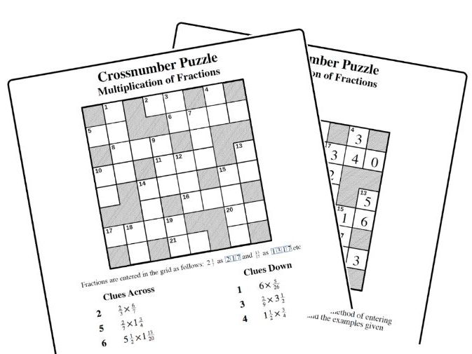 Crossnumber Puzzle: Multiplication of Fractions