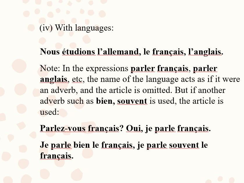 French Grammar: Articles