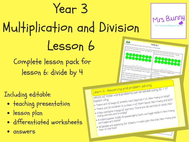 6. Multiplication and Division: divide by 4 lesson pack (Y3)