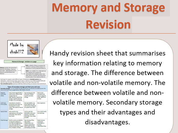 GCSE Computing Revision: Memory and Storage