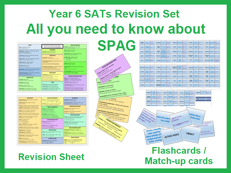 Y6 SATs revision: SPAG (revision sheet and flash cards)