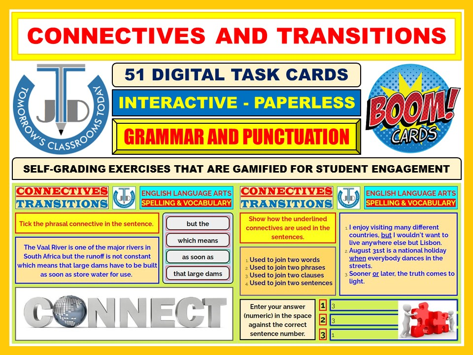 CONNECTIVES AND TRANSITIONS: 51 BOOM CARDS
