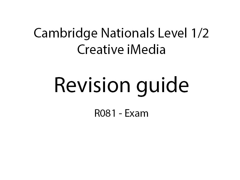 Creative iMedia R081 Revision guide