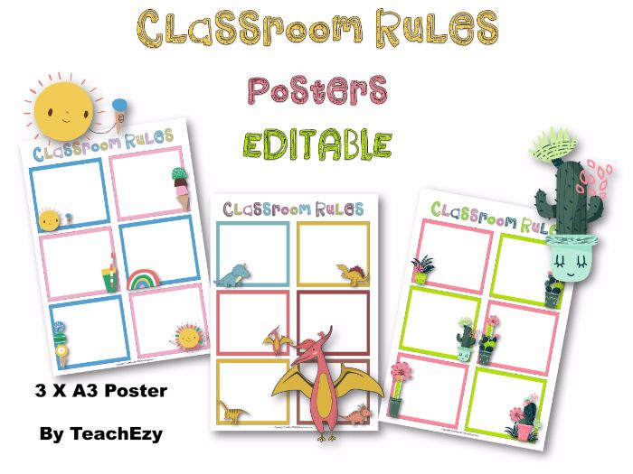 Classroom Rules Editable Posters