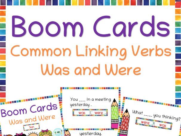 Common linking verbs was and were Boom cards helpful for distance learning