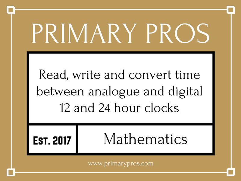 Read, write and convert time between analogue and digital 12- and 24-hour clocks