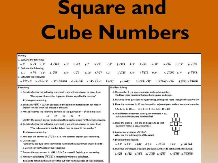 Square and Cube Numbers Problem Solving Mastery Worksheet
