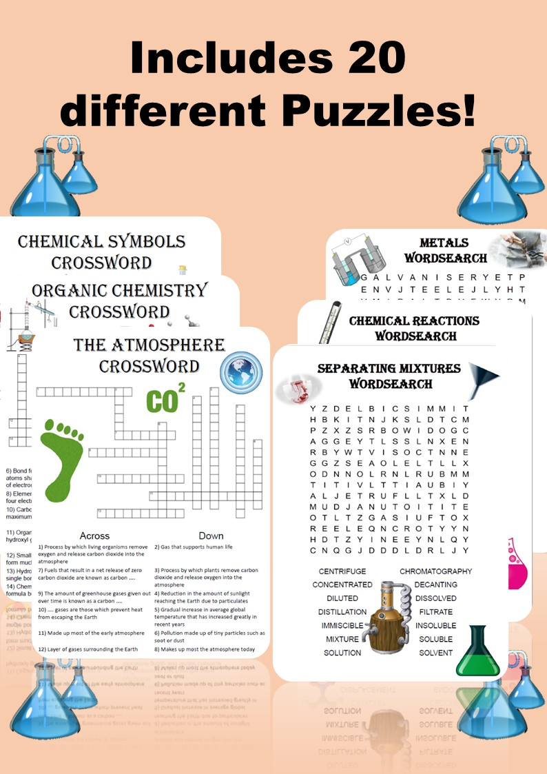Chemistry: Mega Puzzle Bundle. 20 Crosswords and Wordsearches included!