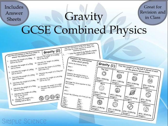 GCSE Physics - Gravity Worksheets