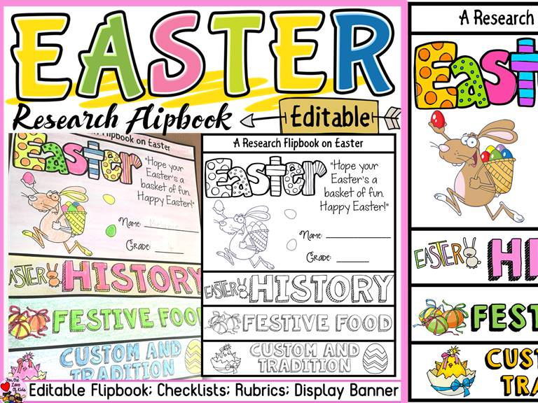 EASTER EDITABLE FLIPBOOK: INFORMATIONAL WRITING RESEARCH TEMPLATE