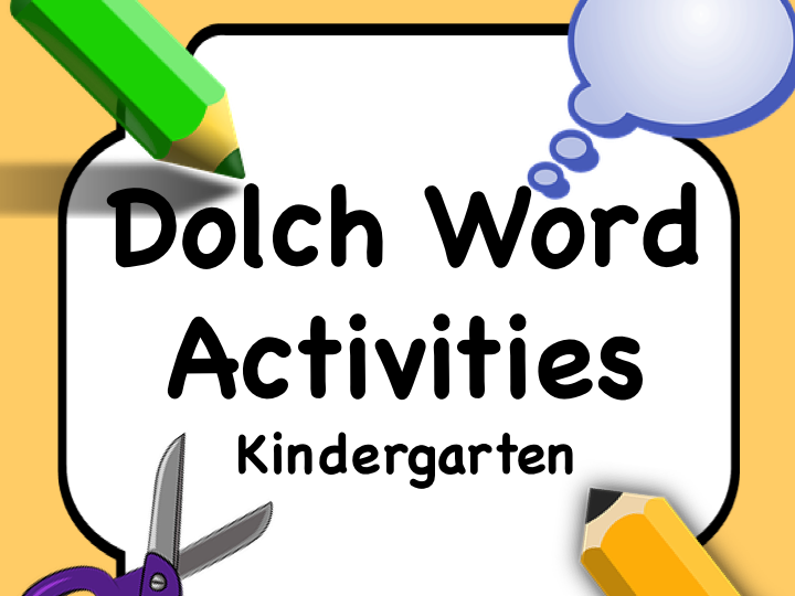 Dolch Words KINDERGARTEN: Task Card for Each Word + Matching Cards COLOR and B/W