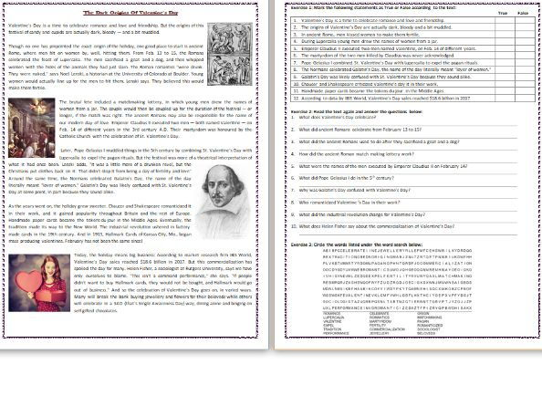 The Dark Origins Of Valentine's Day - Reading Comprehension Worksheet / Text