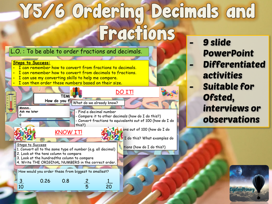 Outstanding Y5 / Y6 Ordering Decimals to Fractions Maths Lesson