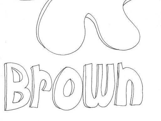 Brown: Colours: Splodge Colouring Page