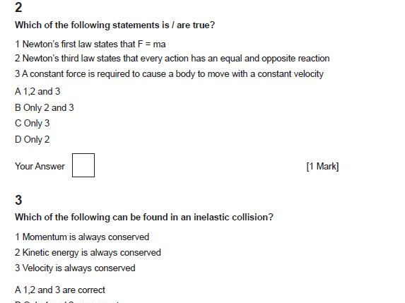 3.5 Newton's Three Laws of Motion Multiple Choice Questions for OCR A Physics AS and A level