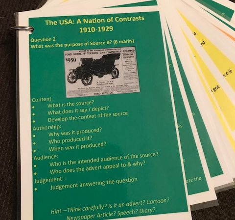 Eduqas / WJEC GCSE History USA 1910-1929 QUESTION KNOWLEDGE ORGANISERS flashcards & posters