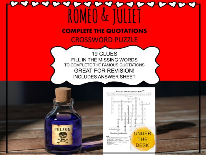 Romeo & Juliet Crossword Puzzle: Complete the Famous Quotations