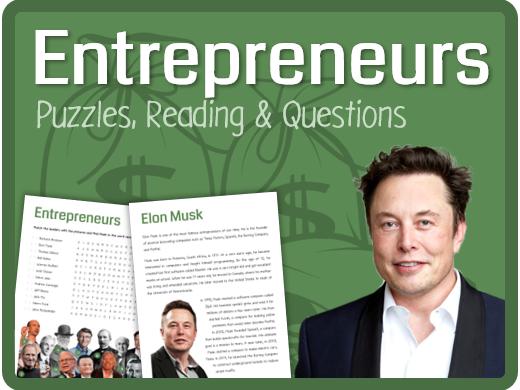 Entrepreneurs (Puzzles, reading & questions)