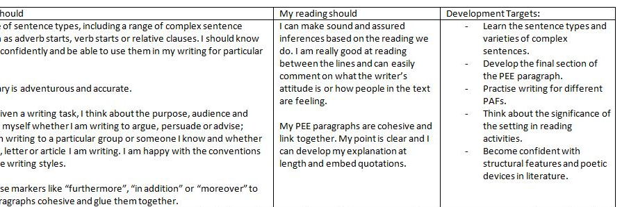 A two page writing descriptor document for common errors (KS3/4)