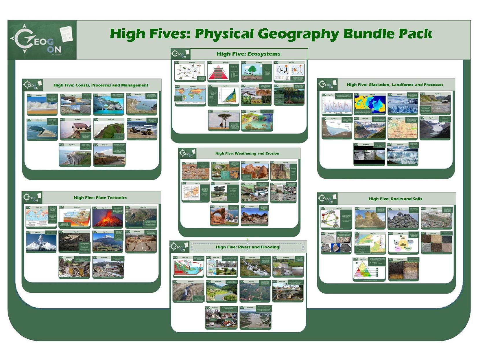 High Fives: Physical Geography Bundle Pack (7 Resources inc. 2 FREE packs!)