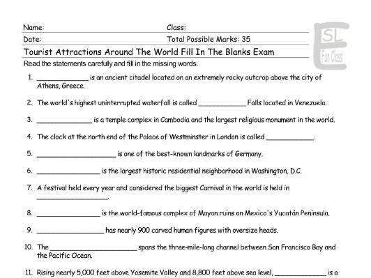 Tourist Attractions Around The World Fill In The Blanks Exam