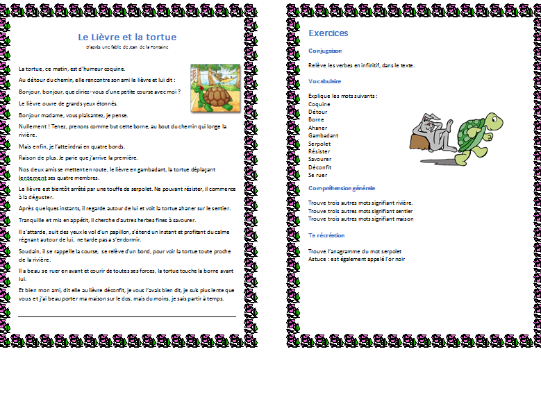 Le lievre et la tortue - Worksheet