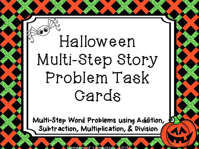 Halloween Multi-Step Story Problem Task Cards