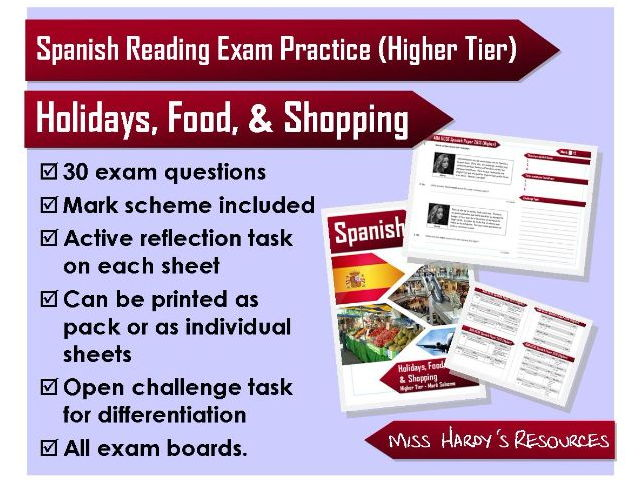 GCSE Spanish - Reading Exam Questions - Holidays, Food, & Shopping - All Exam Boards