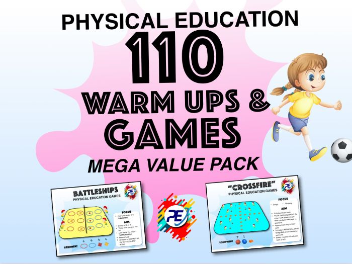 Kindergarten to Grade 8 - 110 Physical Education Games - MEGA VALUE Games Pack